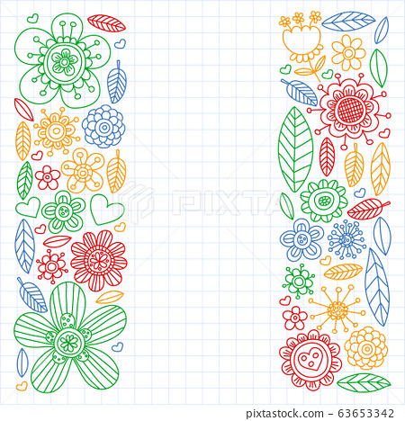Doodle flowers vector pattern for coloring book and pages 63653342