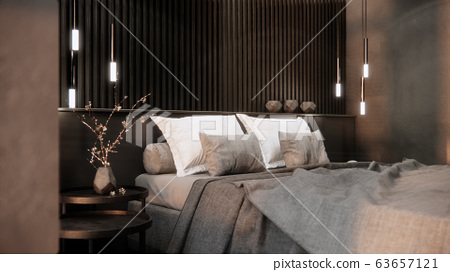 modern minimal bedroom interior design, background 3d rendring 63657121