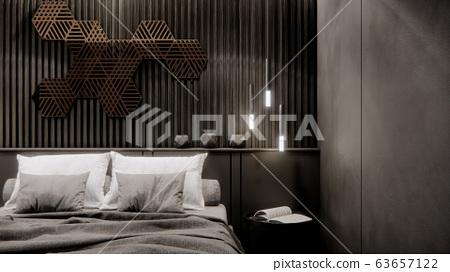 interior of modern black bedroom, 3D rendering background 63657122