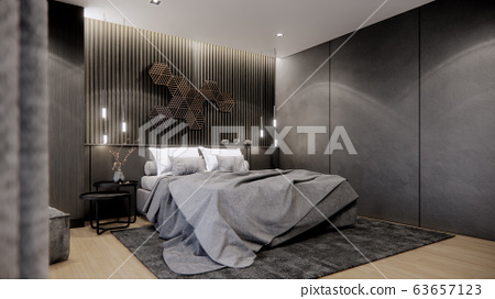 interior design of modern bedroom with double bed, 3D render background 63657123