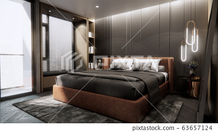 interior of modern luxury bedroom with double bed, 3D rendering 63657124
