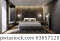 interior of modern luxury bedroom with double bed and marble wall, 3D rendering background 63657129