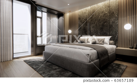 interior of modern luxury bedroom with double bed and marble wall, 3D rendering 63657189
