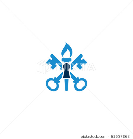 Combination of torch, key and keyhole logo design 63657868