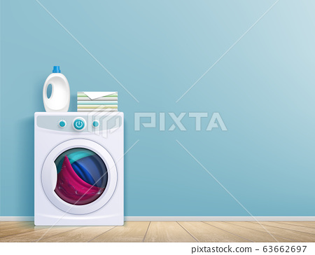 Washing machine in the room in front of the wall. 63662697