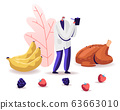 Male Senior Doctor Nutritionist Wearing White Robe Holding Clipboard Stand near Fried Chicken, Bananas and Berries 63663010