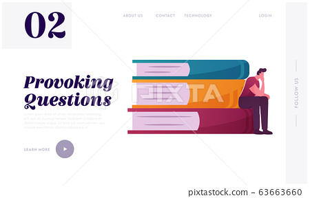 Thoughtful Man Sitting on Huge Book Pile Landing Page Template. Male Character Philosophy Reflections 63663660