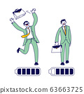 Businessman Character with High Energy Level Running and Throw Briefcase Up to Air. Battery with Full Charging Indicator 63663725