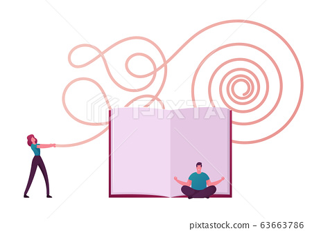 Tiny People Characters Philosophy Thinking. Man Sitting in Lotus Posture Meditating front of Huge Book 63663786