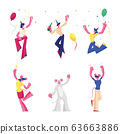 Set Birthday and New Year Party Celebration. Group of Cheerful People, Friends Characters in Mouse Costumes 63663886