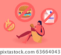 Cave Human Child Wearing Animal Skin Sitting on Ground Eating Meat with Signs Prohibit Bakery, Dairy Production 63664043