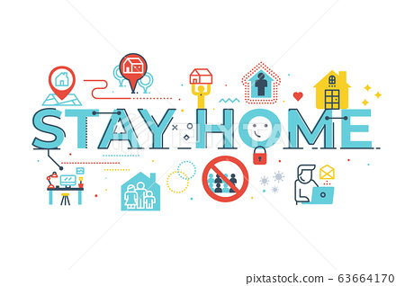 Stay home word lettering illustration 63664170