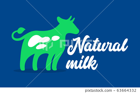Natural Milk Banner with Green Cow and Typography on Blue Background. Dairy Production Label, Healthy Food 63664332