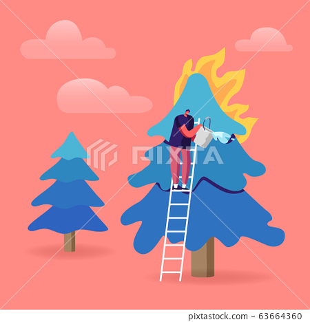 Volunteer Fire Fighter Extreme Profession. Fireman Pouring Bucket with Water for Watering Burning Fir-Tree in Forest
