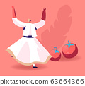 Swirling Dervish in White Wide Dress Dancing near Ripe Fresh Tomatoes. Concept of Oriental Turkish Cuisine 63664366