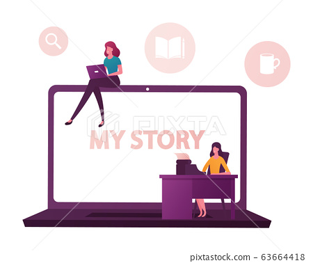 Tiny Female Characters at Huge Laptop Writing Stories and Biography. Girl Typing on Computer, Woman Printing 63664418