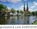 Luebeck, View of the city from river. 63665649