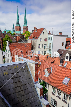 red Luebeck, View of the old city. 63665656