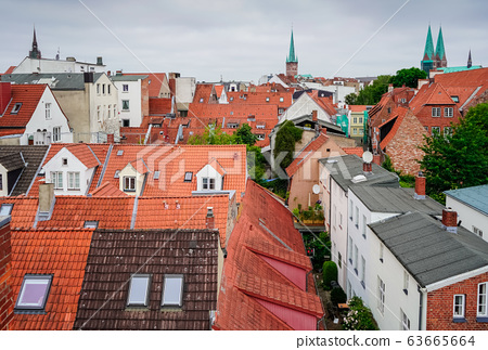 red Luebeck, View of the old city. 63665664