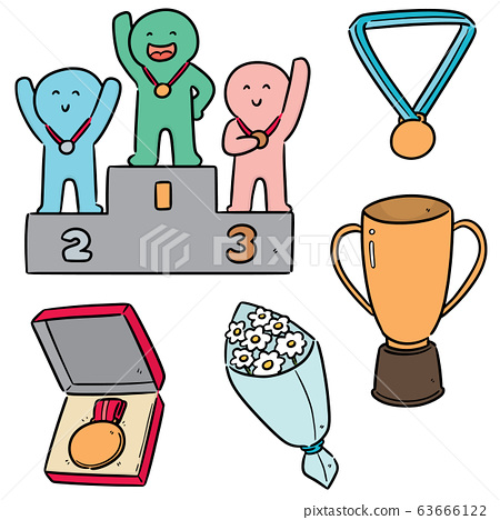 vector set of medal ceremony 63666122
