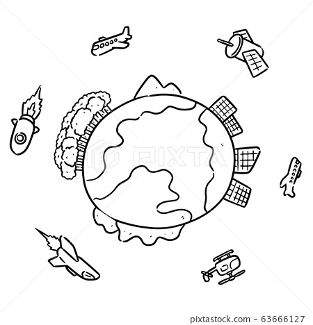 vector set of earth and air vehicle 63666127