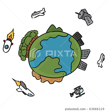 vector set of earth and air vehicle 63666129
