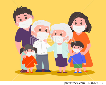 Family wearing protective medical mask for prevent 63669397