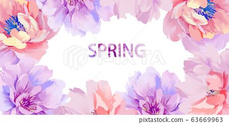 美麗優雅抽象的紫色玫瑰花和牡丹花花卉 63669963