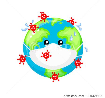 Globe character against the Corona virus. 63669983