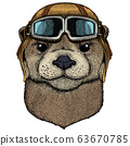 Portrait of otter. Cute animal head. Vintage aviator helmet with googles. 63670785