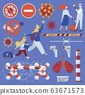 Vector set about coronavirus and borders closure. 63671573