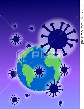 지구에 퍼져있는 전염병바이러스를 표현한 일러스트. 63672900