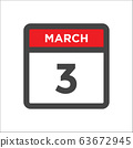 March 3 calendar icon with day of month 63672945