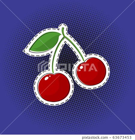 Red cherry sticker on a pop art background 63673453