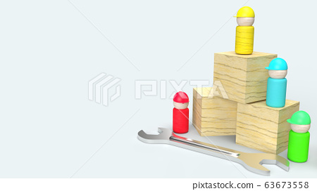 The wooden toys on white background  3d rendering for labour day content 63673558