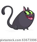 Cartoon witch black cat illustration. Vector 63673996