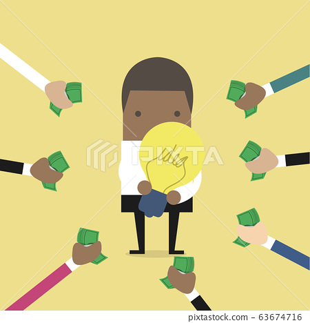 African businessman pay money for buy idea, trading. 63674716