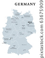 Germany, gray political map. States of the Federal Republic of Germany with capital Berlin and 16 partly-sovereign states. Country in Central and Western Europe. English labeling. Illustration. Vector 63675909
