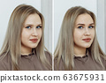 Сomparison before and after permanent makeup 63675931