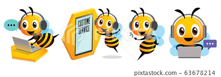 Cartoon cute bee mascot set. Smiling bee operator with headset working at call centre and communicating with customer. Customer service concept - Vector character set 63678214