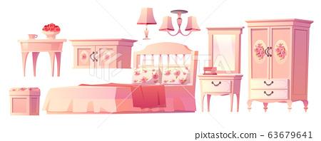 Shabby chic interior set for bedroom 63679641
