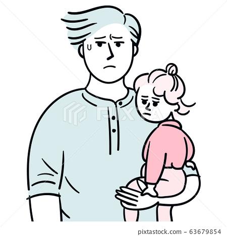 까다로운 아이를 안는 남성 곤란 얼굴 63679854
