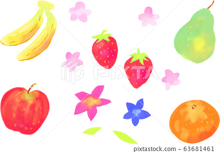 Watercolor fruit and flowers spring material set hand drawn wind fruit 63681461