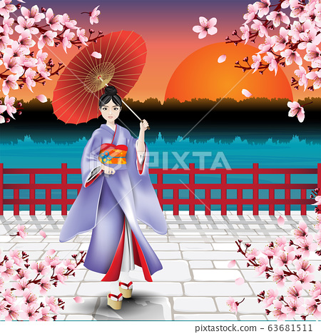 Japanese girl and natural scenic view of sunset and cherry blossom flowers 63681511