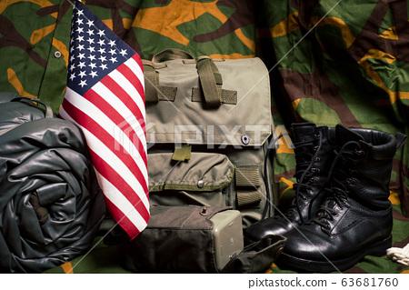 Vintage military equipment retro style 63681760