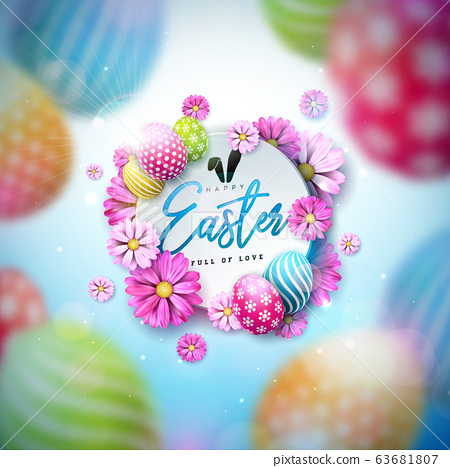 Happy Easter Illustration with Colorful Painted Egg and Spring Flower on Blue Background. International Holiday Celebration Vector Design Template for Greeting Card, Party Invitation or Promo Banner. 63681807