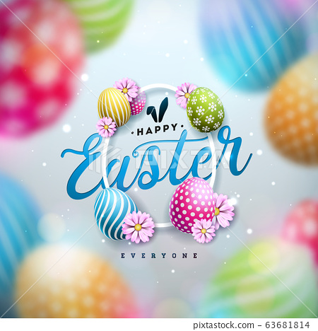 Happy Easter Illustration with Colorful Painted Egg and Spring Flower on Blue Background. International Holiday Celebration Vector Design Template for Greeting Card, Party Invitation or Promo Banner. 63681814