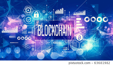 Blockchain concept with technology light background 63681982