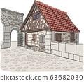 Stone gatehouse in Rothenburg ob der Tauber. 63682030