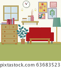 ภาพประกอบของการตกแต่งภายในห้องพักพร้อมโซฟาสีแดง 63683523